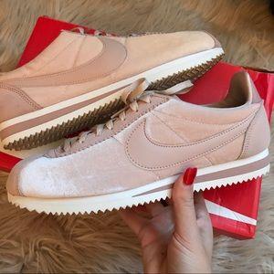 Baby Pink Velvet Nike Classic Cortez
